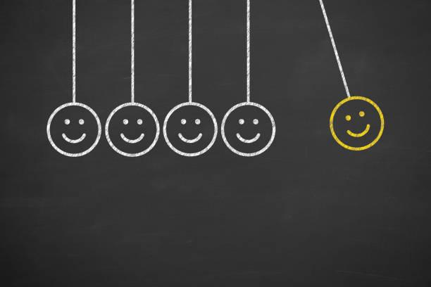 handzeichnung unglücklich und glücklich auf tafel - neuer tag motivation stock-fotos und bilder
