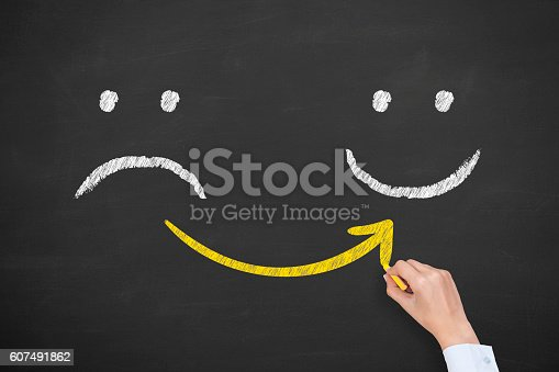 istock Hand drawing unhappy and happy smileys on blackboard background 607491862