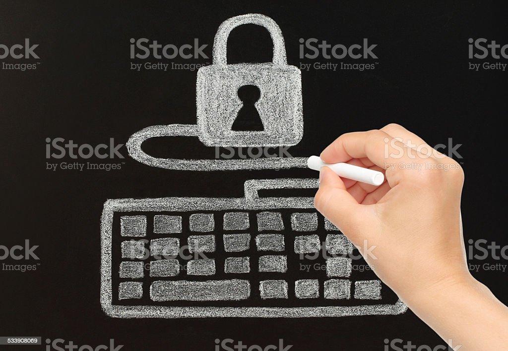 Hand zeichnen mit Kreide Tastatur, verbunden mit dem Schloss – Foto