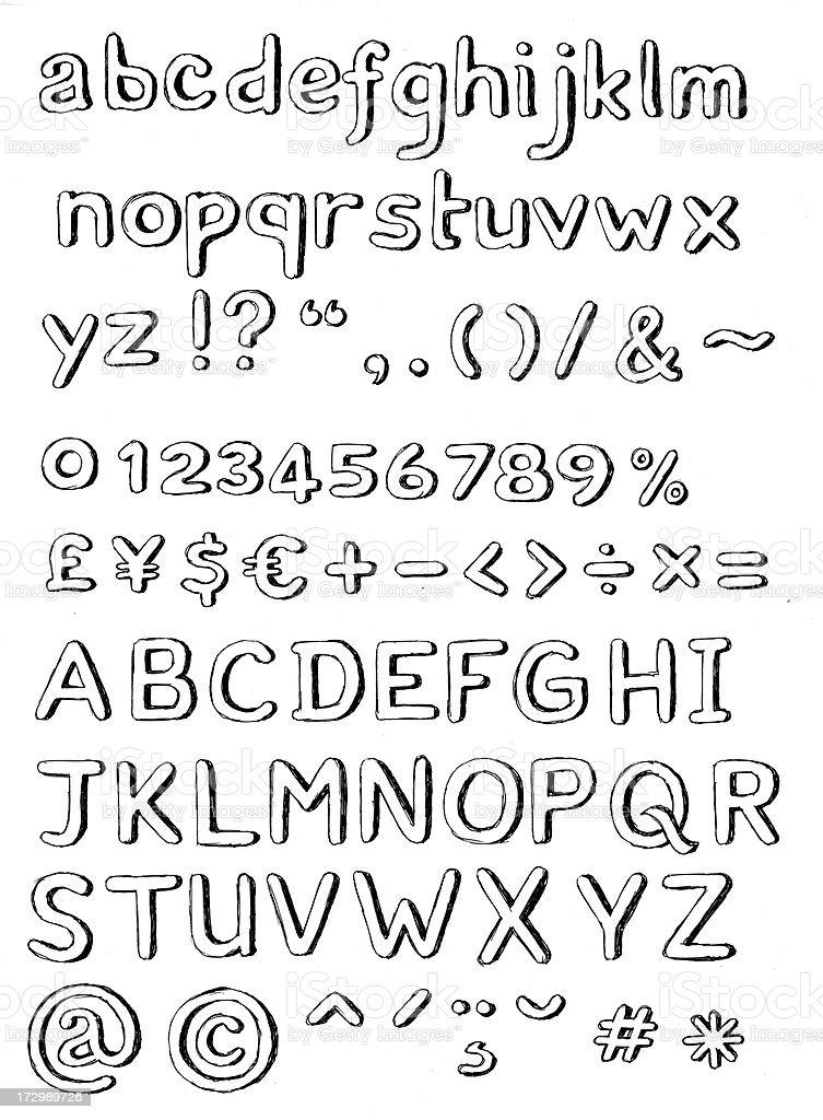 Hand gezeichnete 3d alphabet – Foto
