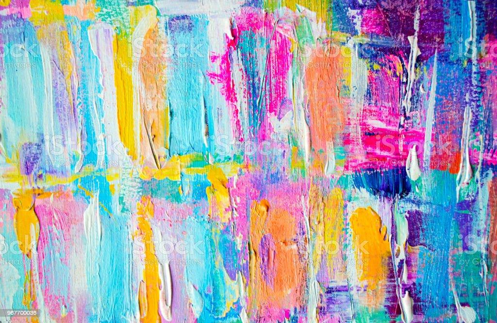 Hand Getekend Acryl Schilderij Achtergrond Van De Abstracte Kunst Acryl Schilderij Op Canvas Kleur Patroon Fragment Van De Illustratie Penseelstreken Van Verf Moderne Kunst Hedendaagse Kunst Kleurrijk Canvas Closeup Stockfoto En Meer