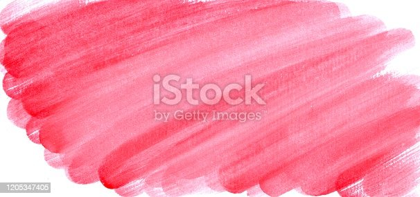 832048182 istock photo Hand drawn background of watercolor red smears 1205347405
