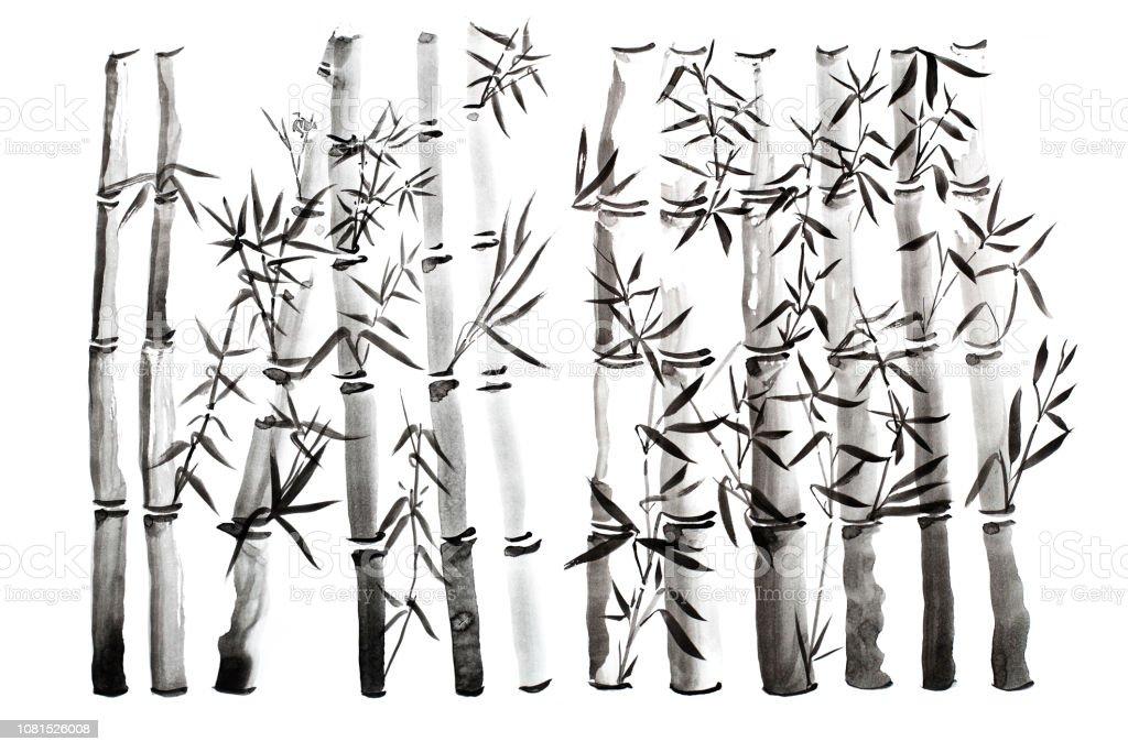 Elle Cizilmis Bambu Yapraklari Ve Sube Ayarla Boya Murekkep