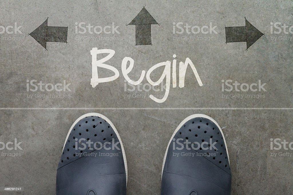 Hand drawn BEGIN design word stock photo