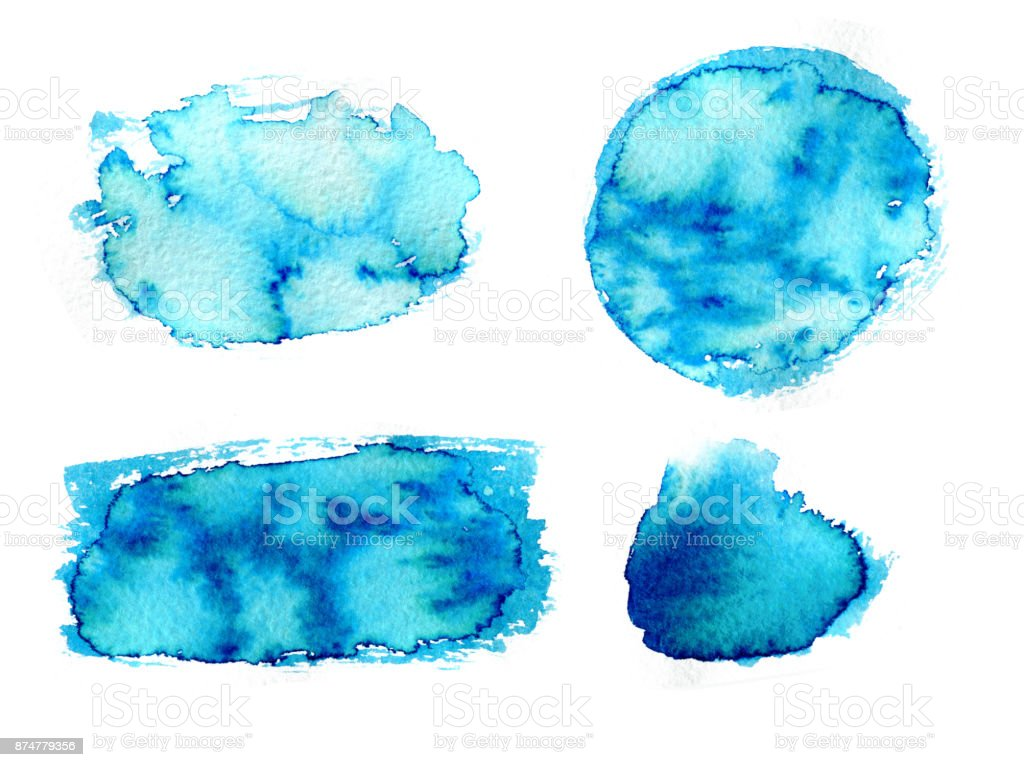 Hand drawn blue watercolor abstract paint texture. Raster background. stock photo