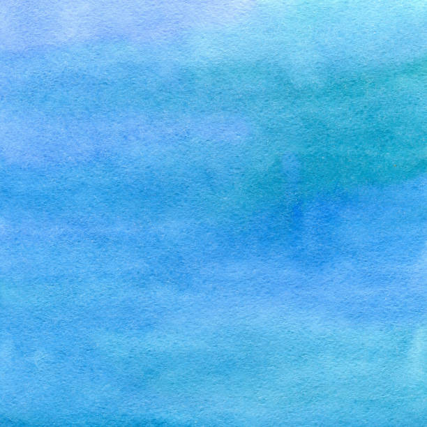 Hand drawn blue watercolor abstract texture. Raster background. stock photo