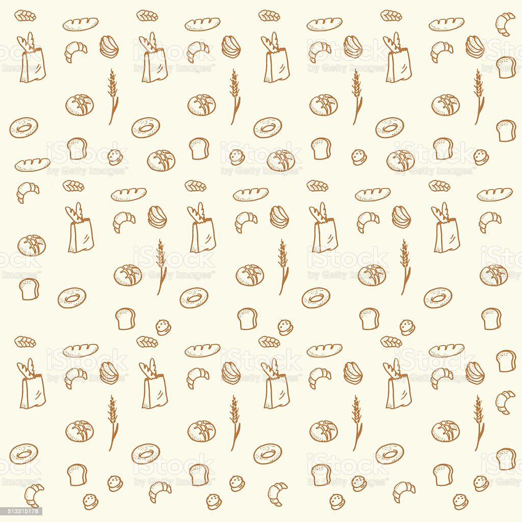 Hand drawn bread and bakery doodles seamless pattern background. stock photo