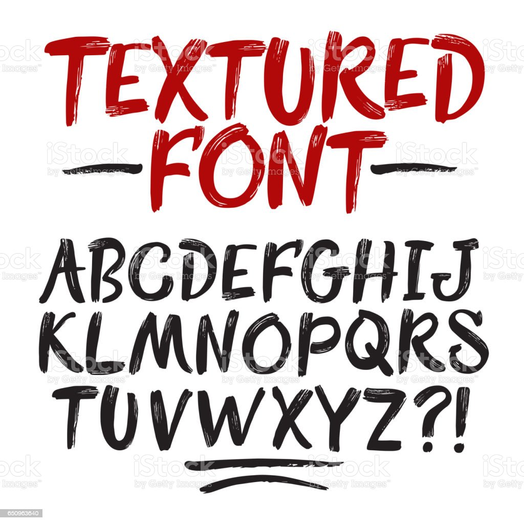 Hand drawn brush textured font vector art illustration
