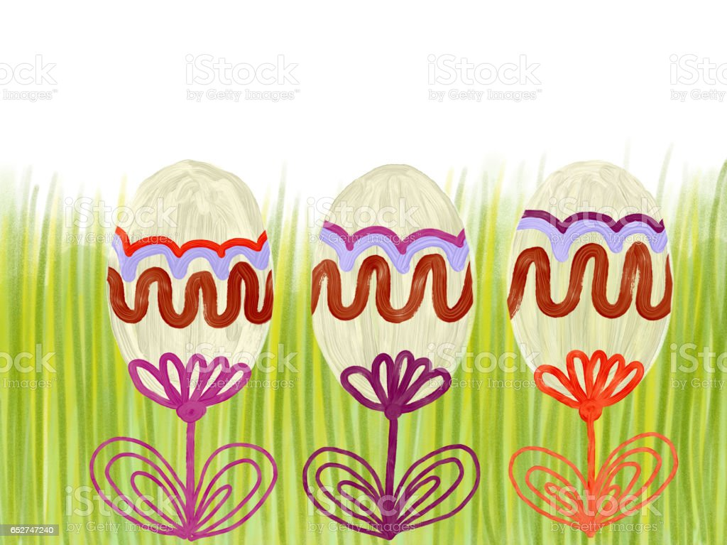 Hand drawn colorful Easter eggs on green grass as background stock photo