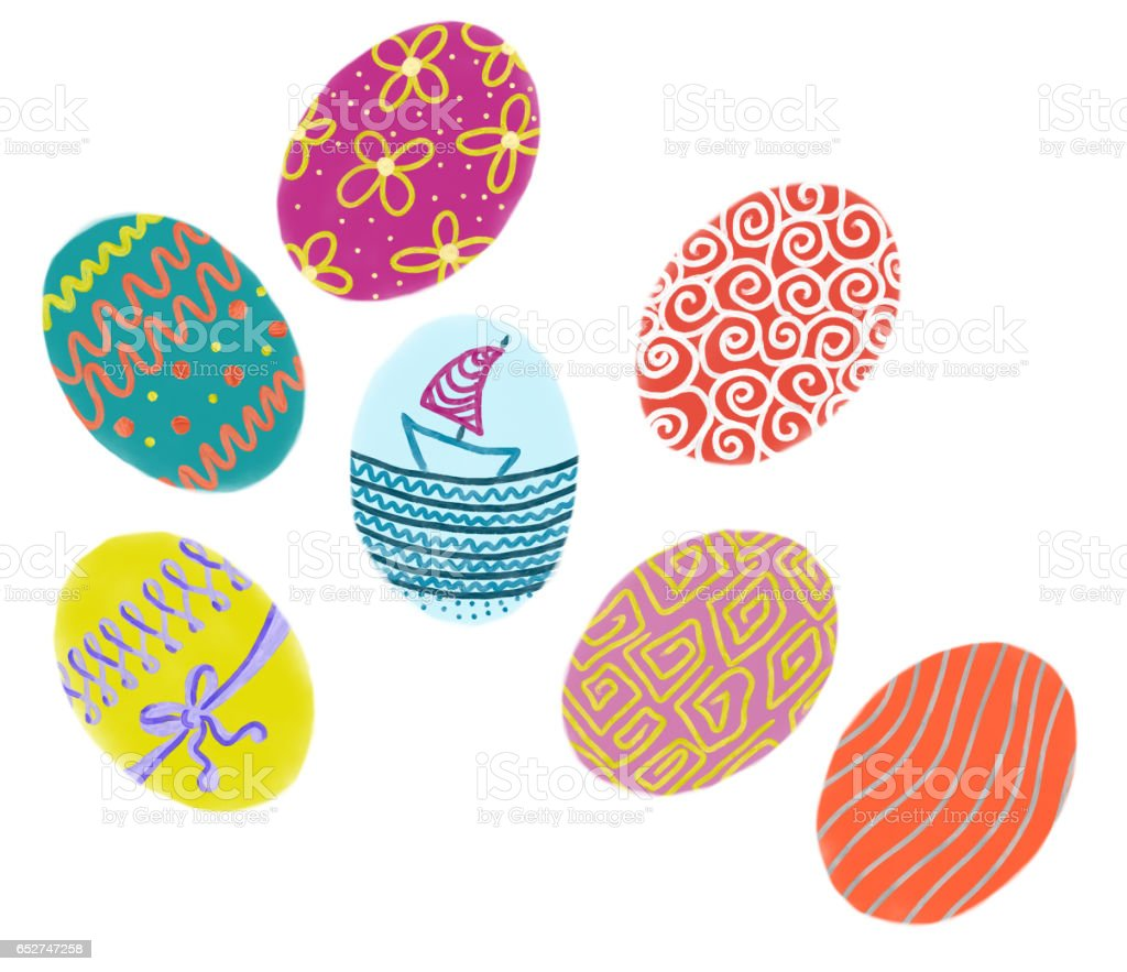 Hand drawn colorful Easter eggs on white background stock photo