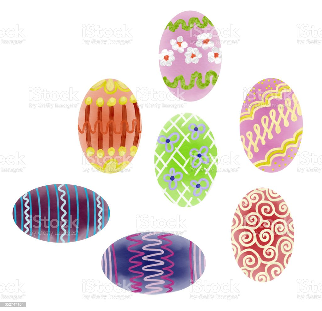 Hand drawn colorful Easter eggs stock photo