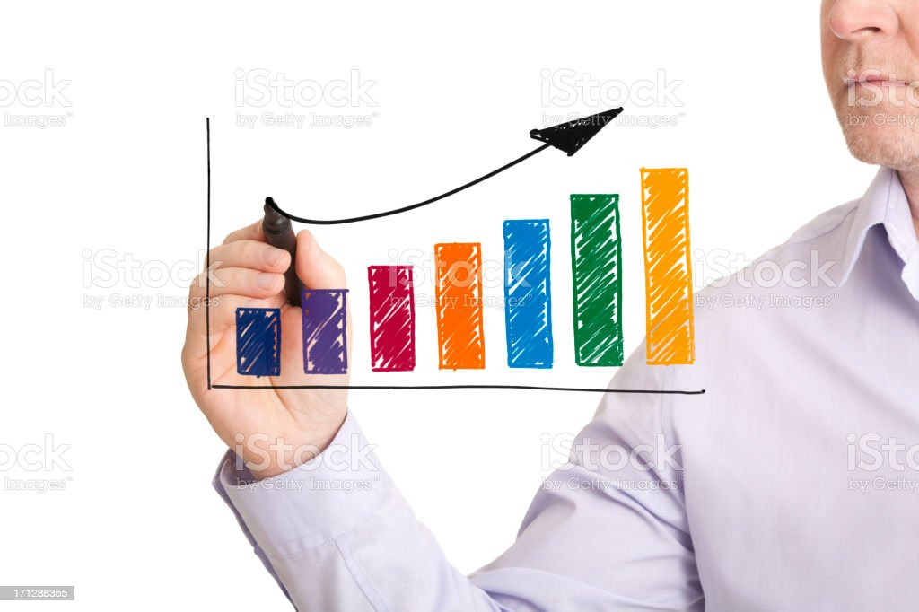 Hand drawn colourful profit growth chart royalty-free stock photo