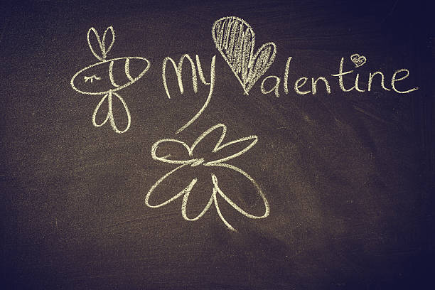 Hand drawn doodle bee on chalkboard,Valentine,love - Photo