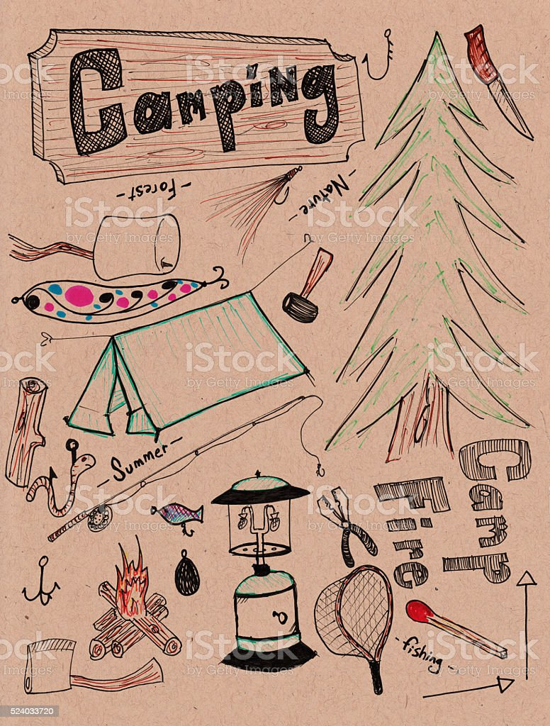 Hand drawn doodles - camping XXXL stock photo