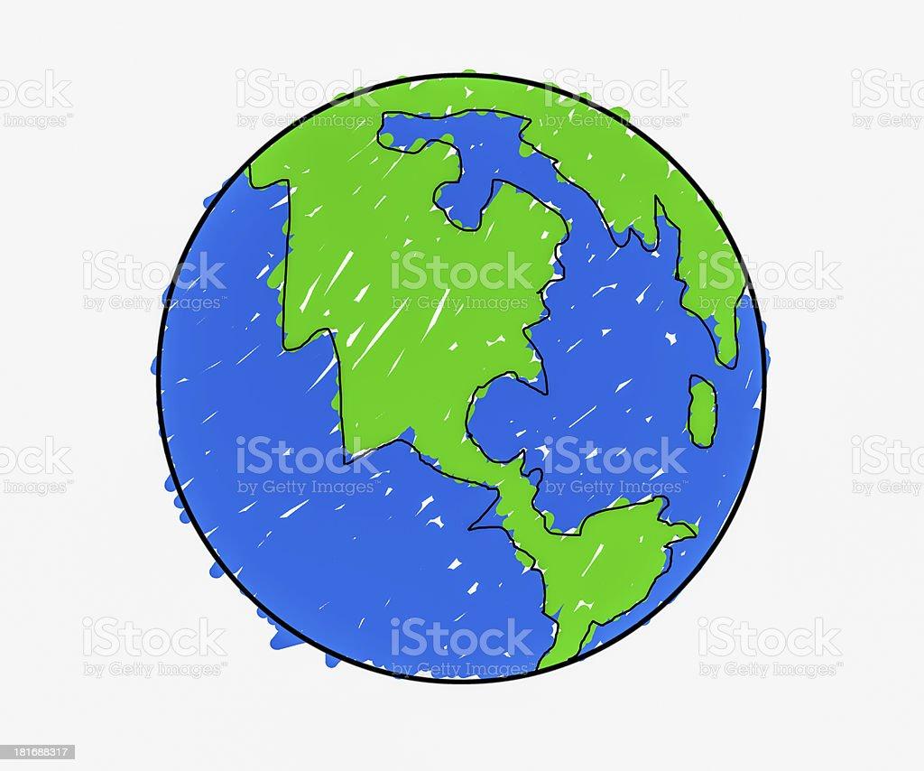 Hand drawn earth royalty-free stock photo