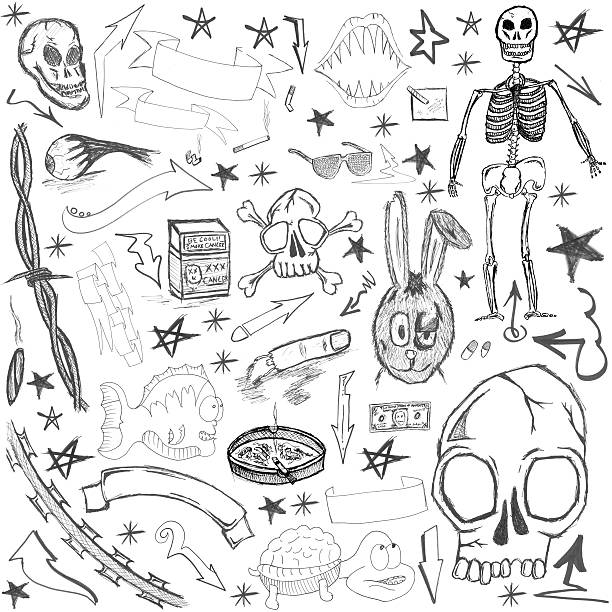 hand drawn elements - doodle stock photos and pictures