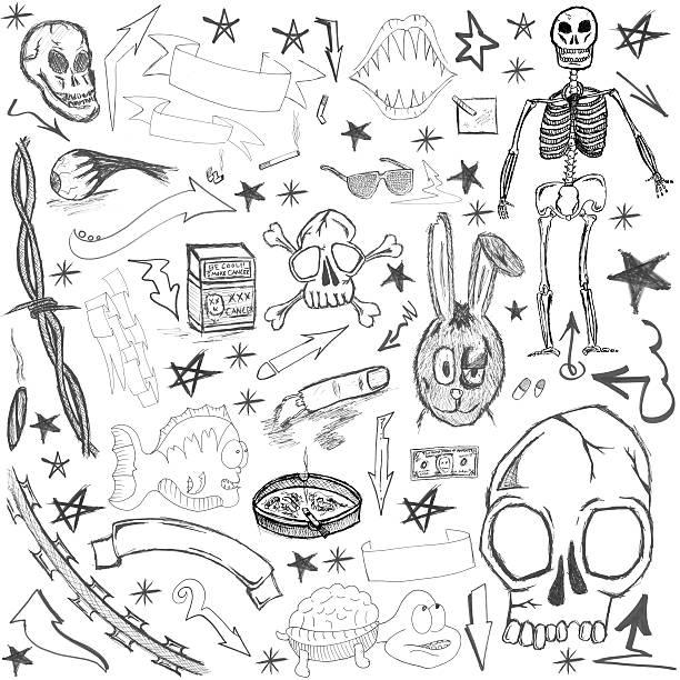 hand drawn elements - animal doodle bildbanksfoton och bilder