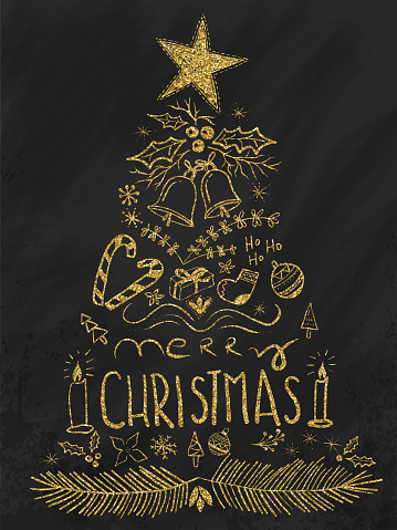 istock Hand Drawn Gold GlitterChristmas Tree on Blackboard. Merry Christmas Greeting Card. Hand-lettering with Chalk 1062703136