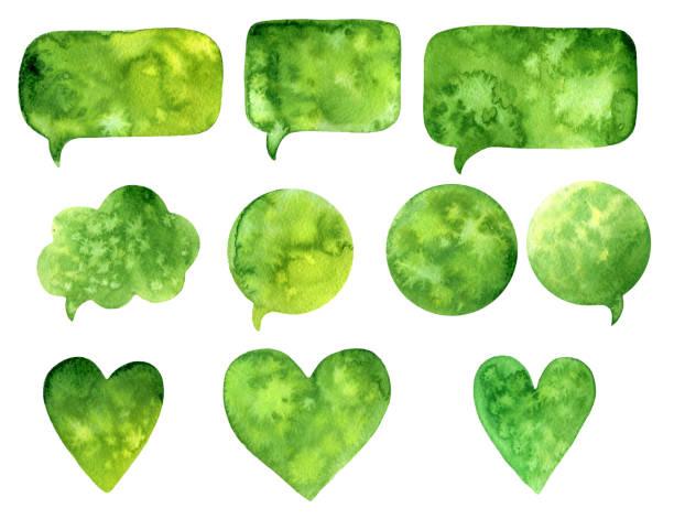 Handgezeichnete Grün Abstrakt Aquarellfarbe Textur. Raster Rede Blase Herz, Splash Hintergrund. – Foto
