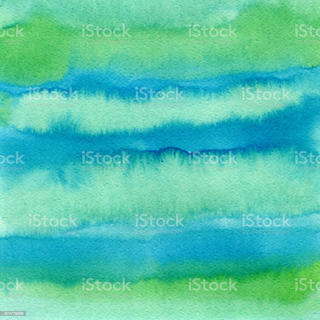 Hand drawn green watercolor abstract paint texture. Raster splash background. stock photo
