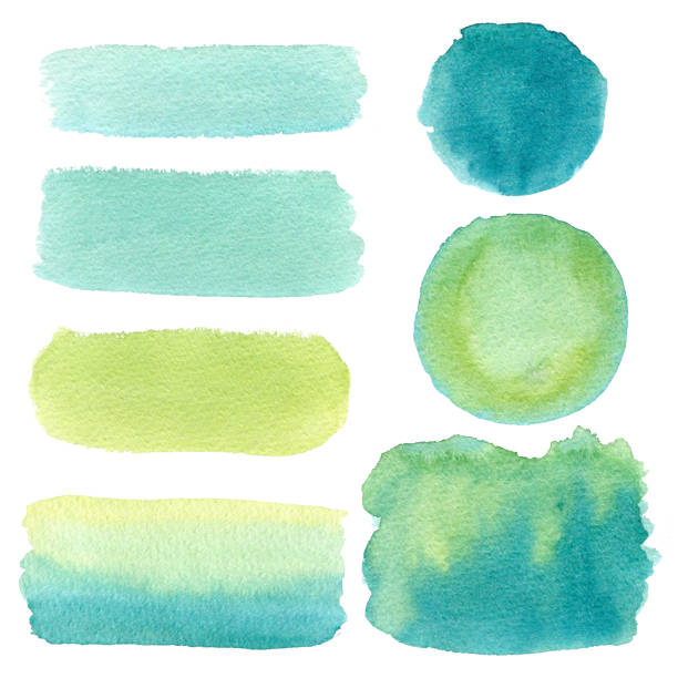 hand drawn green watercolor abstract texture. raster background. - tree logo stock photos and pictures