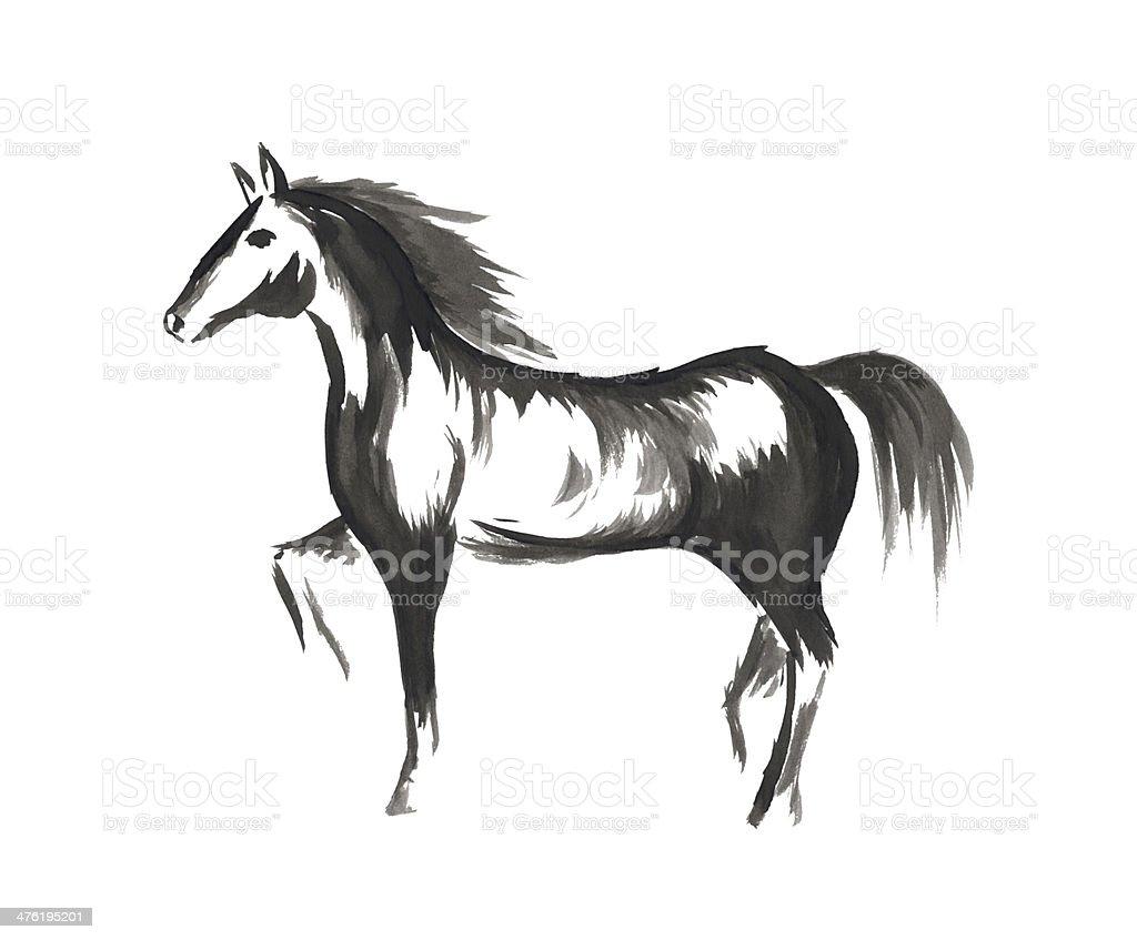 Hand drawn horse royalty-free stock photo