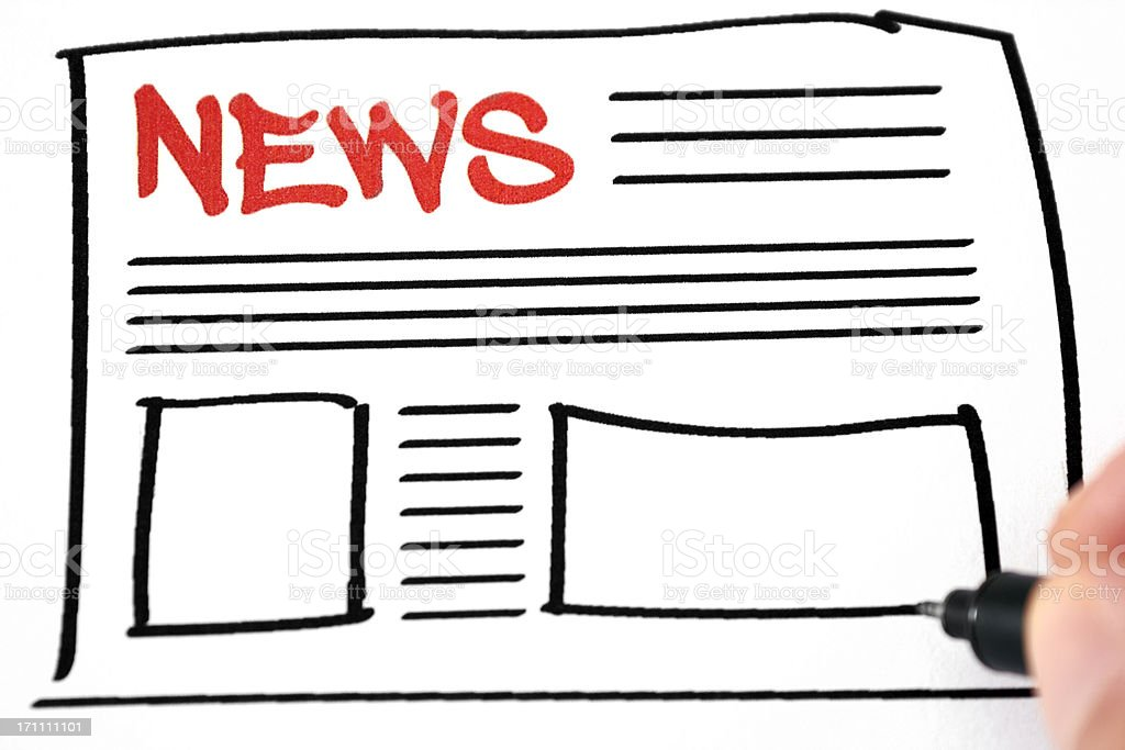 Hand drawn illustration of a news layout royalty-free stock photo