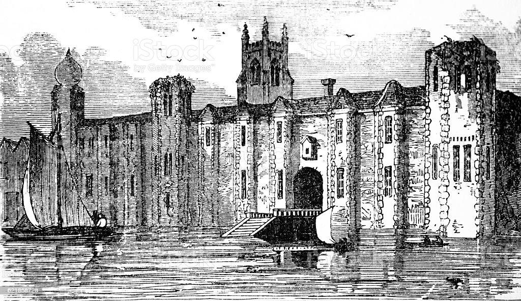 Hand drawn illustration of Baynard's Castle, London stock photo