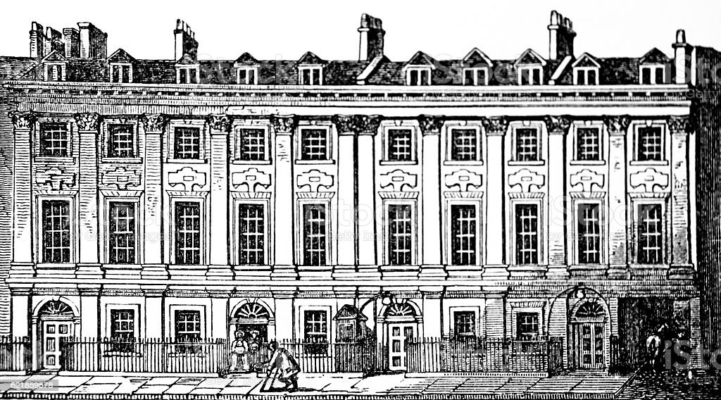 Hand drawn illustration of Great Queen Street stock photo