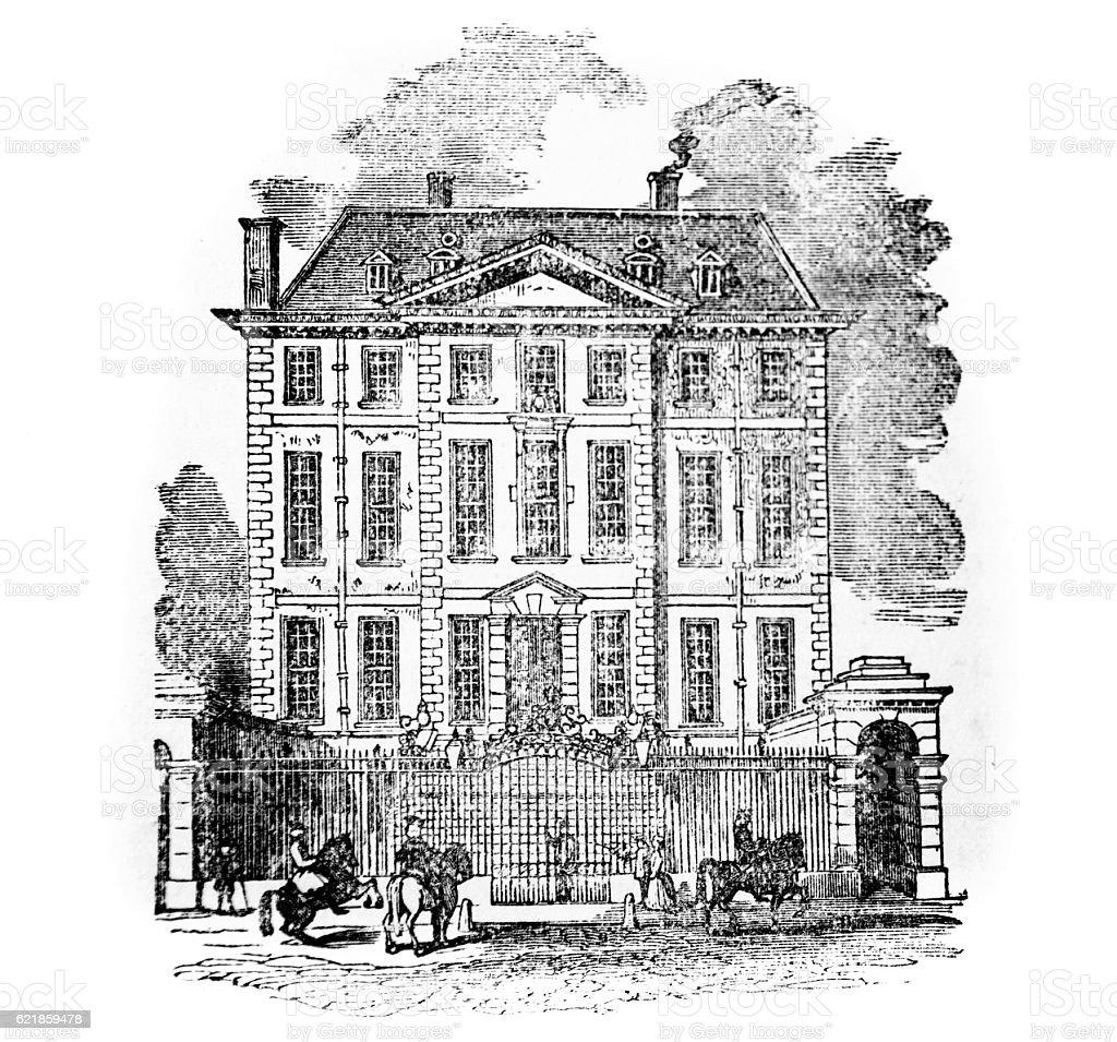 Hand drawn illustration of Newcastle House stock photo