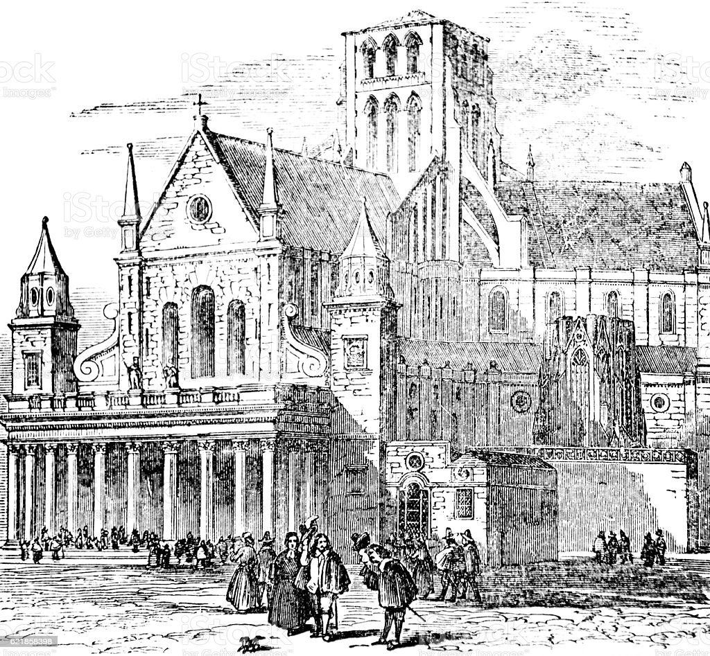 Hand drawn illustration of Old St Paul's Cathedral London stock photo