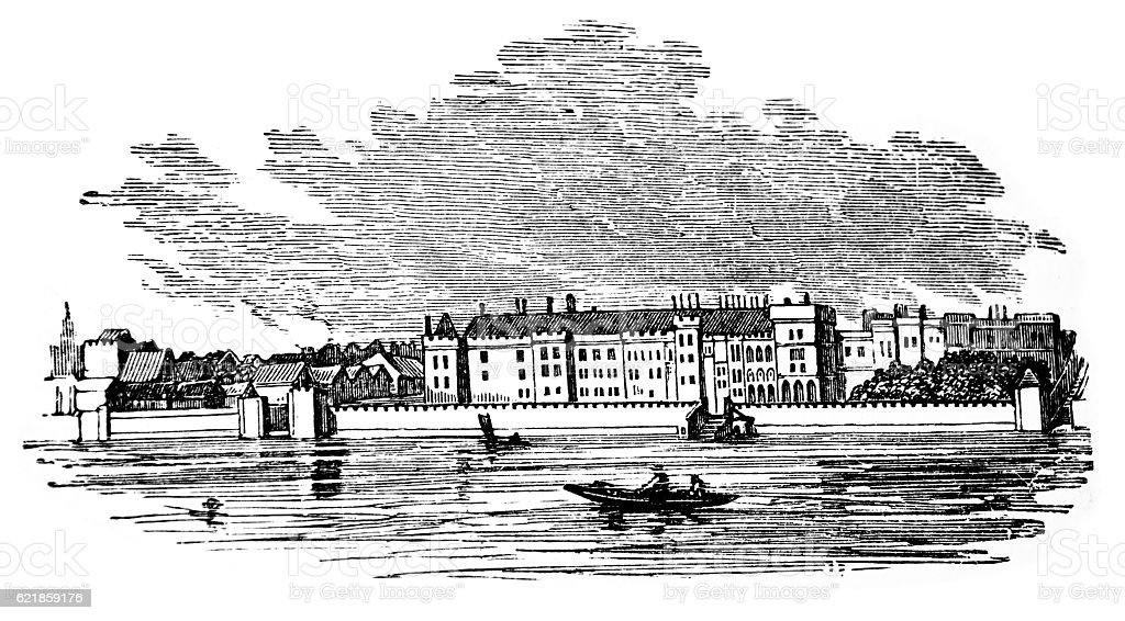 Hand drawn illustration of Somerset House, London stock photo