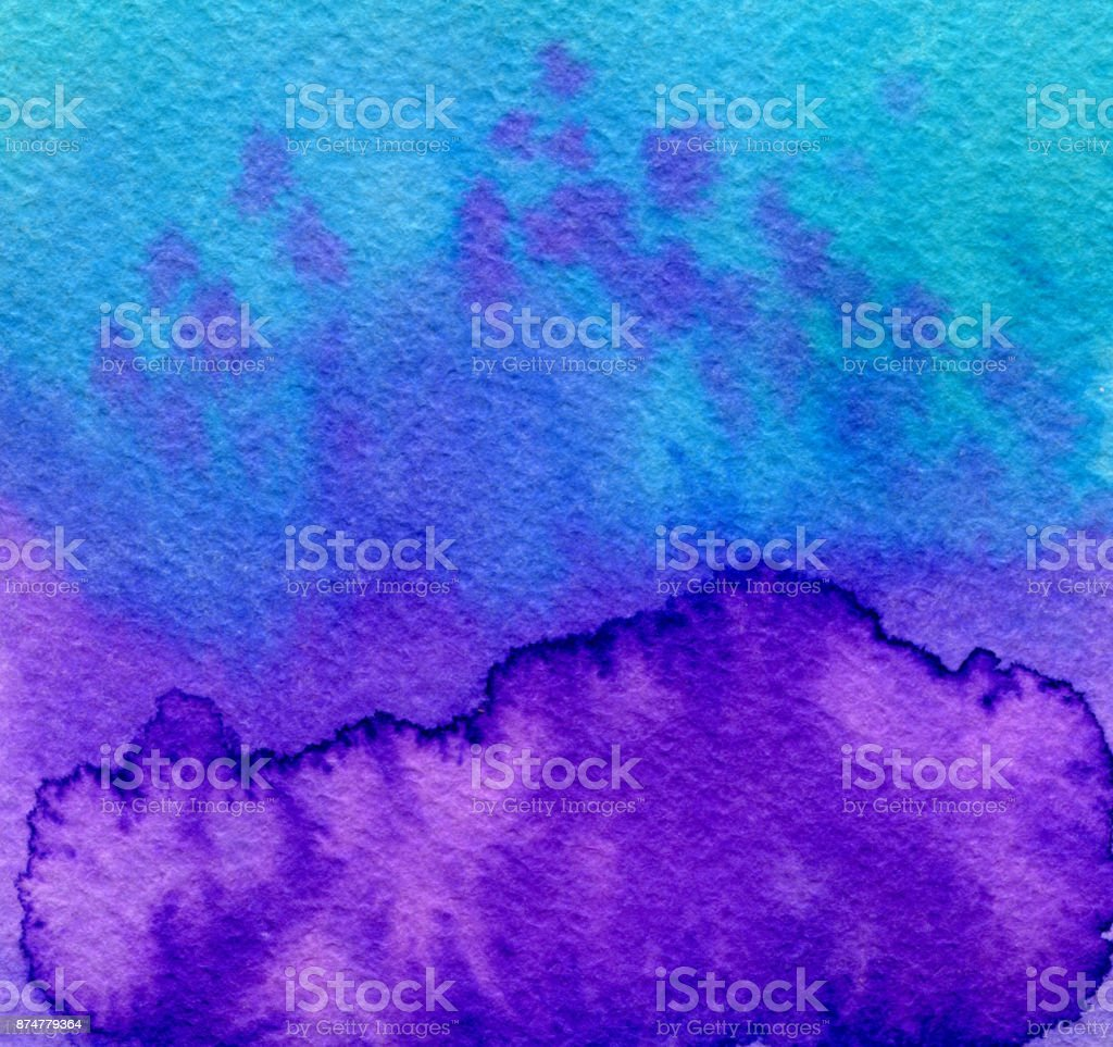 Hand drawn indigo blue watercolor abstract paint texture with dots. Raster background. stock photo
