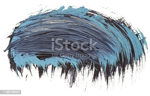 istock Hand drawn isolated acrylic cloud paint brush stripe with dirty blue colors 1158799431