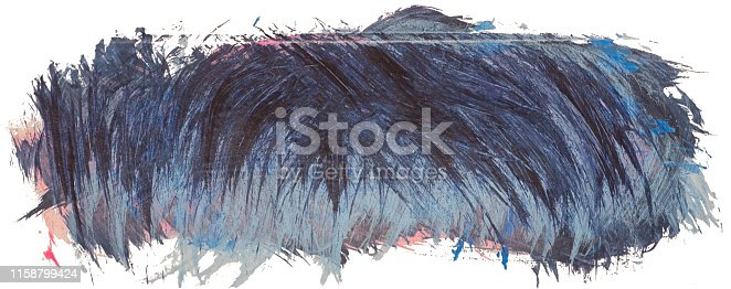 istock Hand drawn isolated acrylic paintbrush stroke with dirty blue and black color 1158799424