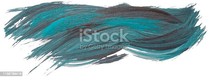 istock Hand drawn isolated acrylic paintbrush turquoise stripe with dirty blue and black color 1158799418