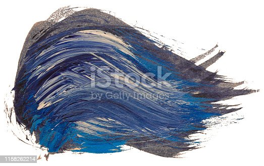 istock Hand drawn isolated black with blue and white acrylic paintbrush stripes 1158262214