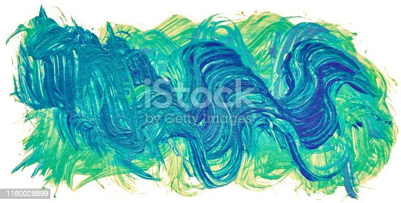 istock Hand drawn isolated paintbrush green and blue stripe 1160028899