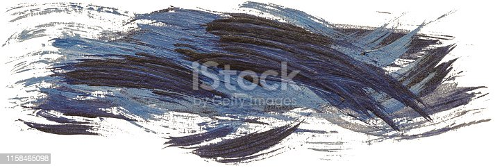 istock Hand drawn isolated paintbrush stripe with dirty blue and black color 1158465098