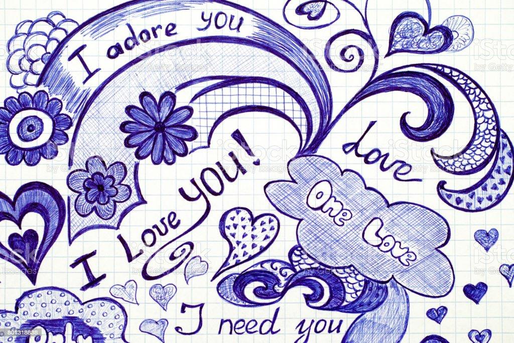 Amor mano dibujado garabatos mensajes en papel a cuadros. - foto de stock