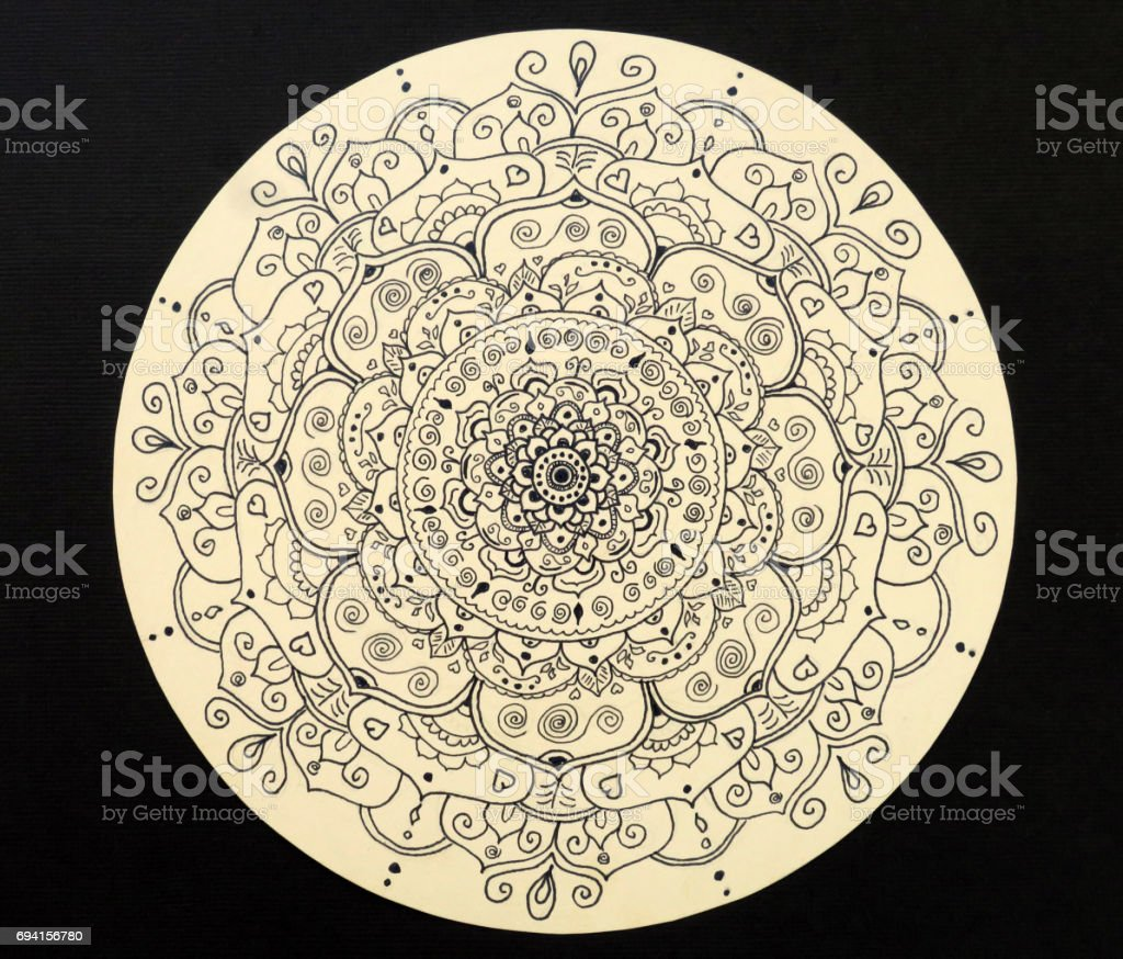 Hand drawn mandala of love stock photo