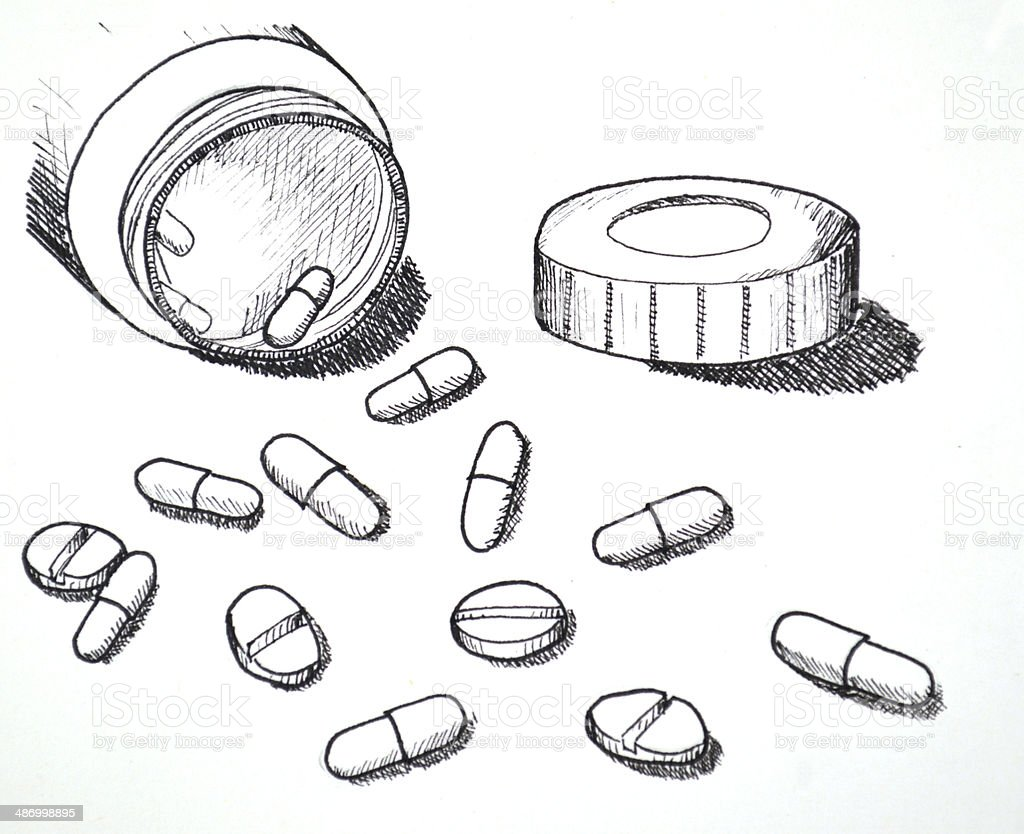 Hand Drawn Of Medicine Pills And Tablet Stock Photo Download Image