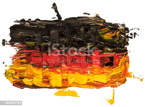 Hand drawn oil painting of the Germany flag. Oil brush stroke with black, red and yelloe stripes isolated on white baclground.