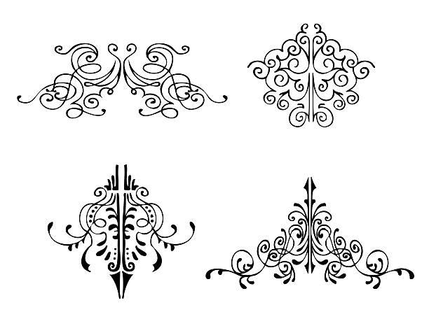 dessiné à la main de superbes touches décoratives - motif ornemental photos et images de collection
