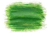 hand drawn paintbrush green watercolor brush stroke painting isolated on white