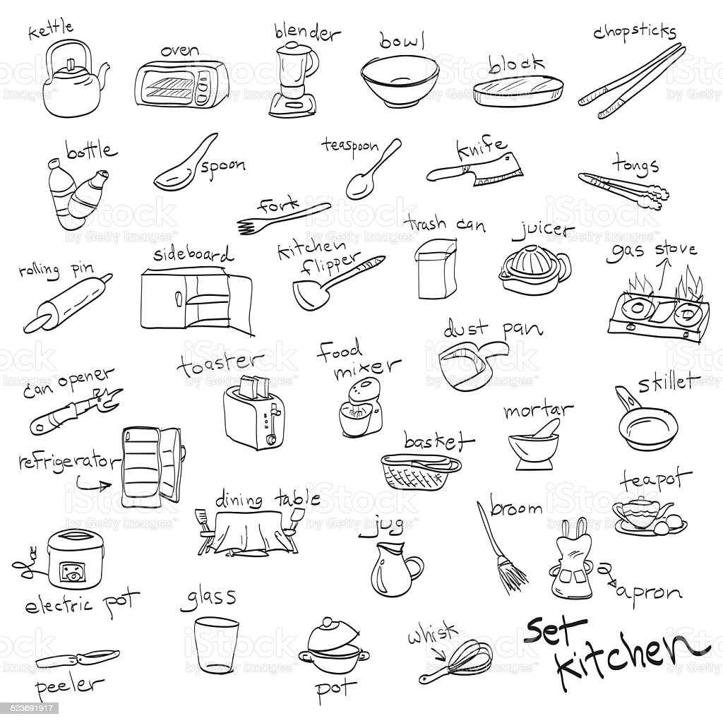 Disegnati A Mano Set Di Oggetti In Cucina Disegni E Schizzi ...