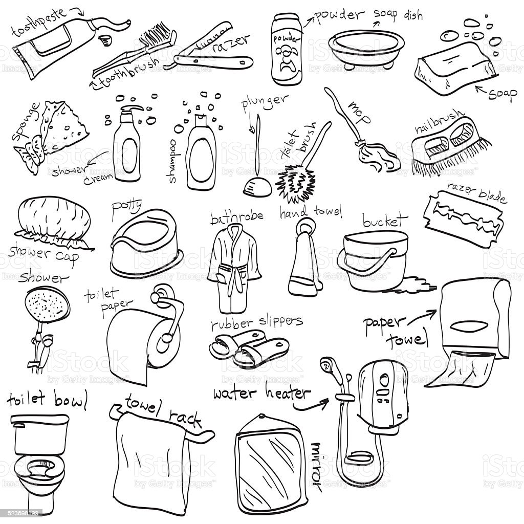 Hand Drawn Set Of Toilet Objects Doodles Stock Photo