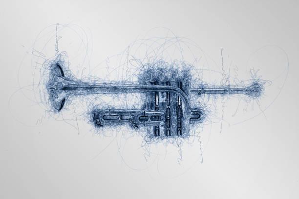 handgezeichnete Skizze der Musik Piccolo Trompete Ansicht von der Seite – Foto