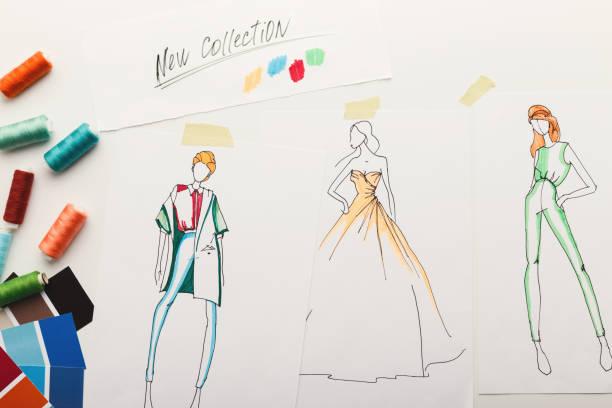 dessiné de main esquisses pour la nouvelle collection de mode - croquis de stylisme de mode photos et images de collection