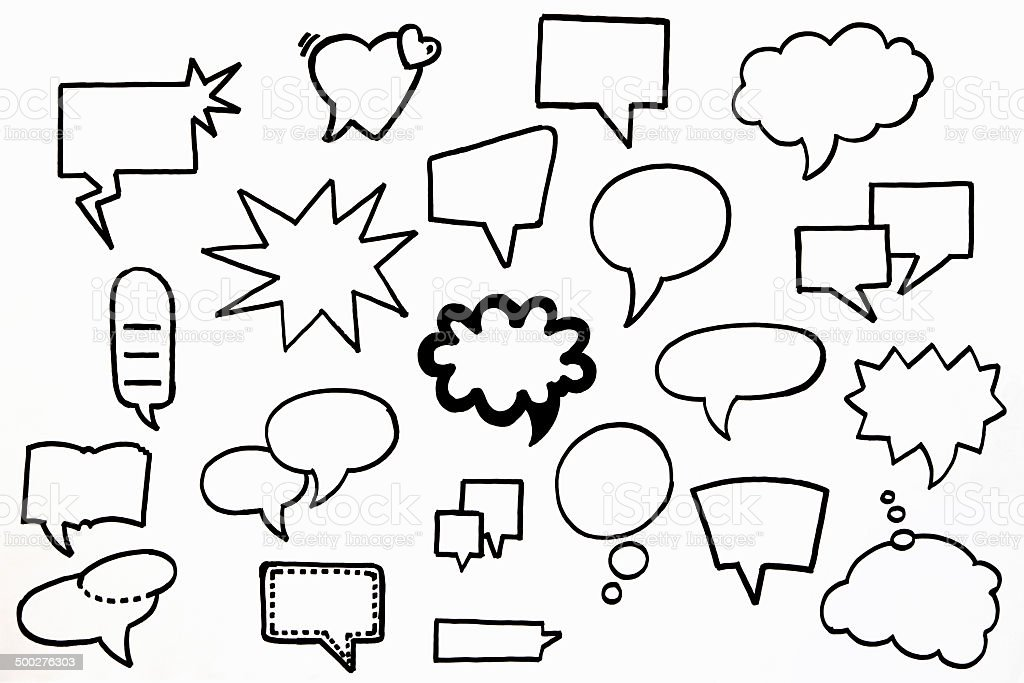 Hand Drawn Speech Bubbles stok fotoğrafı